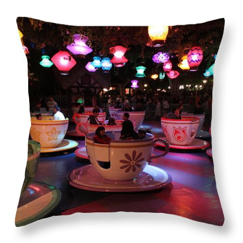 Disneyland Throw Pillow featuring the photograph Tea Cups by Caroline Lomeli