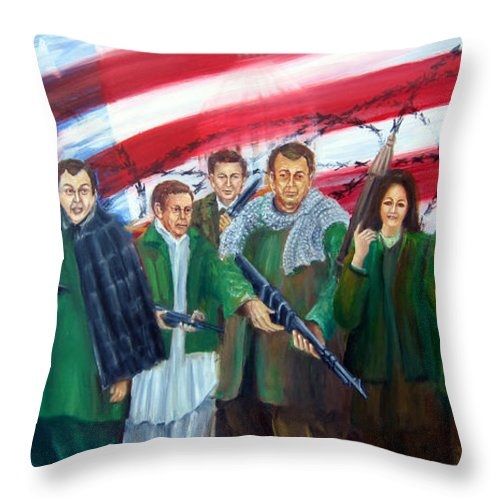 Current American Political Scene Throw Pillow featuring the painting Tealibanization Of The Usa by Leonardo Ruggieri