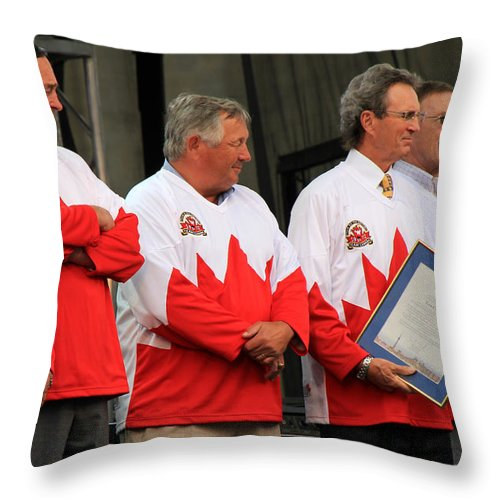 Team Canada Throw Pillow featuring the photograph Team Canada 1 by Andrew Fare