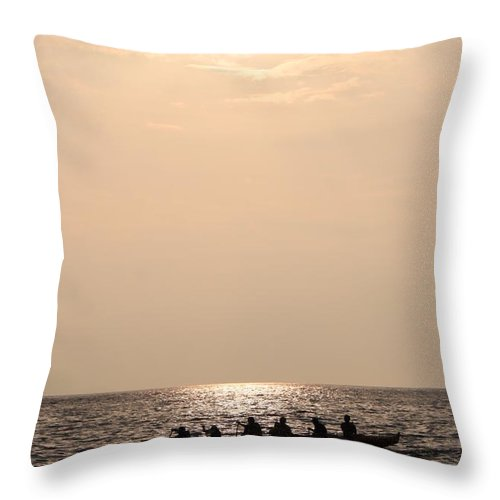 Rowing Throw Pillow featuring the photograph Teamwork by Caroline Lomeli