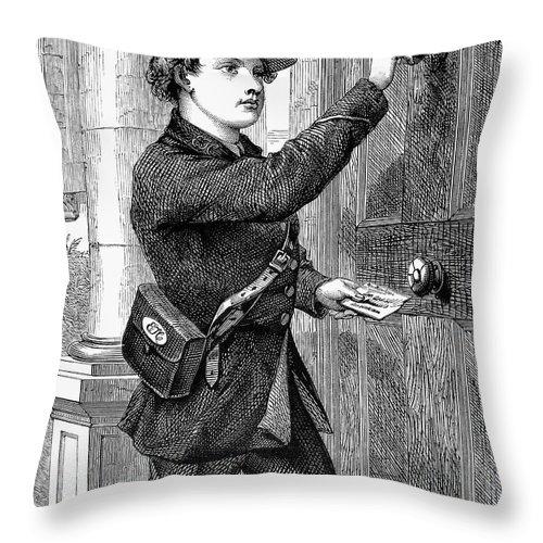 1869 Throw Pillow featuring the photograph Telegraph Messenger, 1869 by Granger