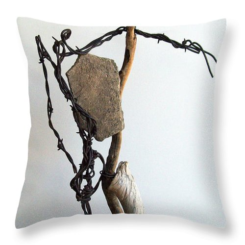 Sculpture Throw Pillow featuring the sculpture Tell Me About It by Snake Jagger