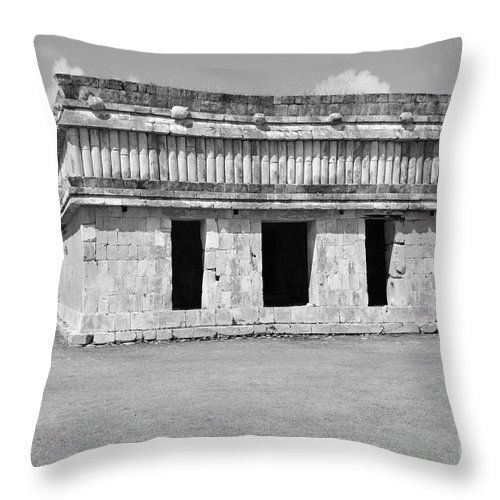 Uxmal Throw Pillow featuring the photograph Temple Of The Turtles At Uxmal Mexico Black And White by Shawn O'Brien