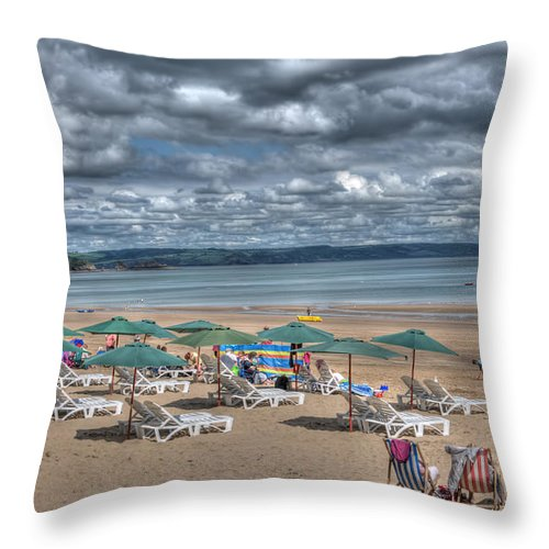 Tenby Harbour Throw Pillow featuring the photograph Tenby North Beach 3 by Steve Purnell