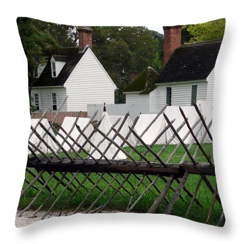Tents Throw Pillow featuring the digital art Tenting On The Green by Richard Ortolano