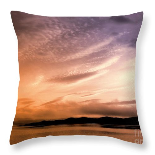 Sunrise Throw Pillow featuring the mixed media Tequila Sunrise by Gail Bridger