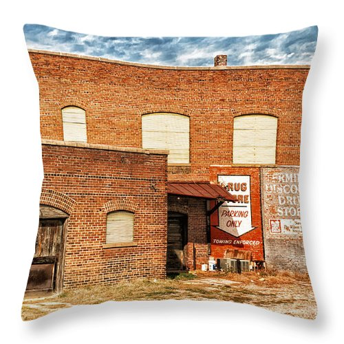 Alexandria Throw Pillow featuring the photograph Terminal Drug Store by Jim Moore