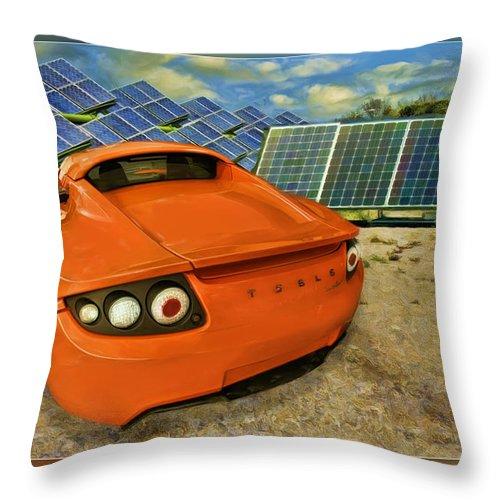Tesla Car Throw Pillow featuring the photograph Tesla Car by Blake Richards