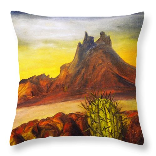 Nautical Throw Pillow featuring the painting Tetakawi San Carlos Sonora Mexico by Veronica Zimmerman
