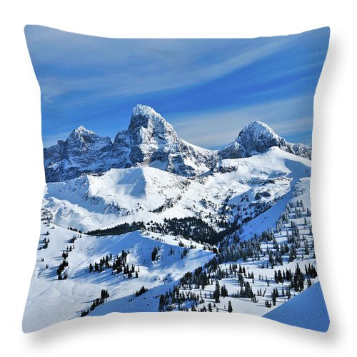 Grand Teton National Park Throw Pillow featuring the photograph Teton Winter by Greg Norrell