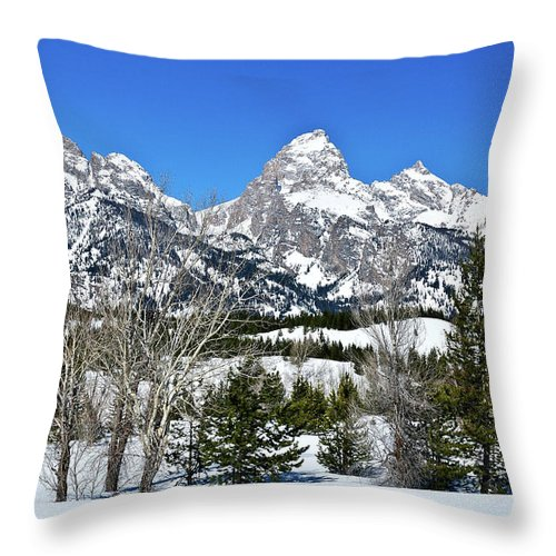 Grand Teton National Park Throw Pillow featuring the photograph Teton Winter Landscape by Greg Norrell
