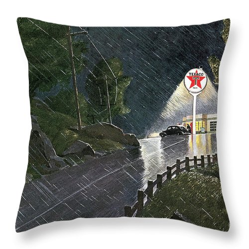 1941 Throw Pillow featuring the photograph Texaco Advertisement, 1941 by Granger