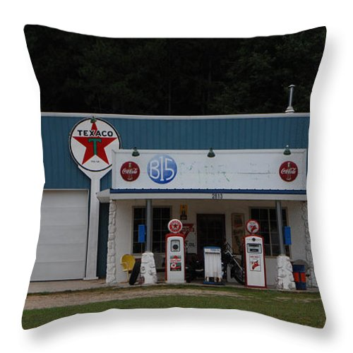 Texaco Throw Pillow featuring the photograph Texaco Gas Station by Grace Grogan