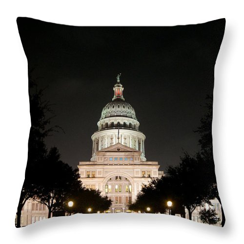 Austin Throw Pillow featuring the photograph Texas Capitol Building At Night - Horz by Sean Wray