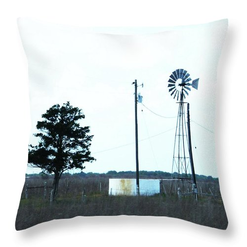 Windmill Throw Pillow featuring the digital art Texas Ranch View by Lizi Beard-Ward