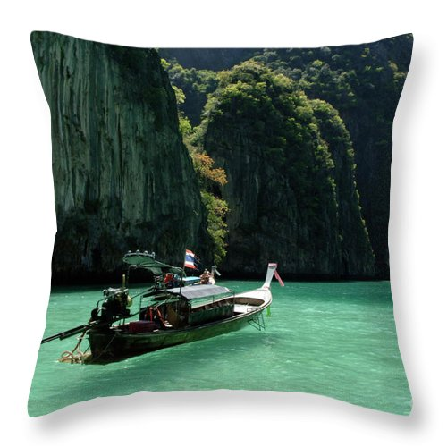 Phuket Throw Pillow featuring the photograph Thai Long Tail Boat by Bob Christopher
