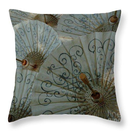 Umbrella Throw Pillow featuring the photograph Thai Umbrellas 3 by Bob Christopher