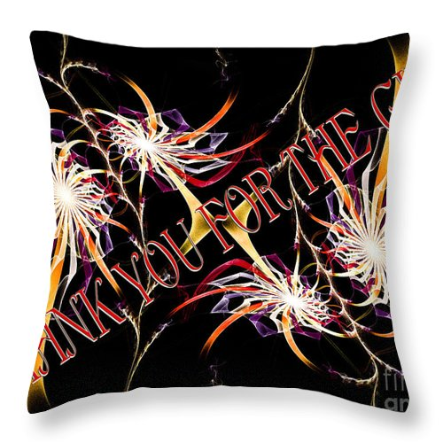 Fine Art Greeting Card Throw Pillow featuring the digital art Thank You For The Gift by Andee Design