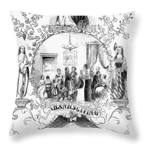 1852 Throw Pillow featuring the photograph Thanksgiving, 1852 by Granger