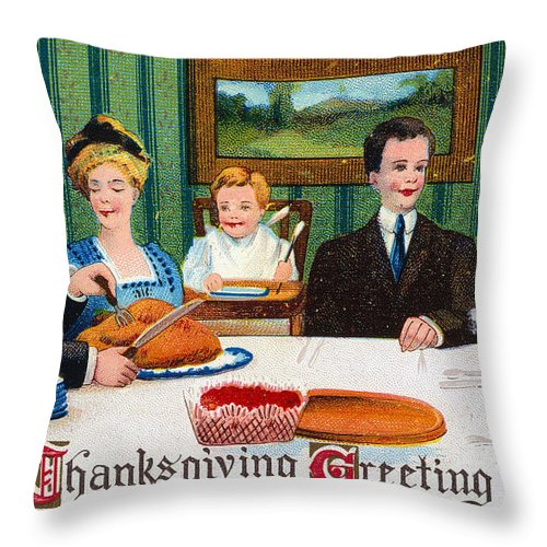 1910 Throw Pillow featuring the photograph Thanksgiving Card, 1910 by Granger
