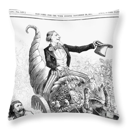 1887 Throw Pillow featuring the photograph Thanksgiving Parade, 1887 by Granger