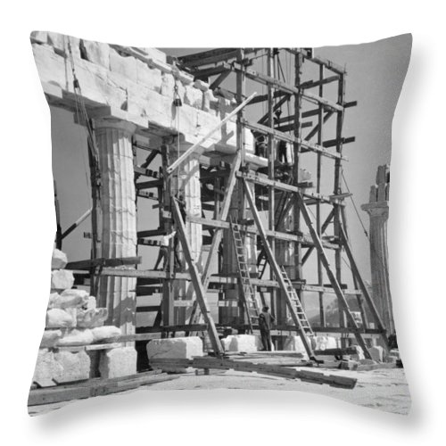 athens Throw Pillow featuring the photograph The Acropolis. The Parthenon. One by W. Robert Moore
