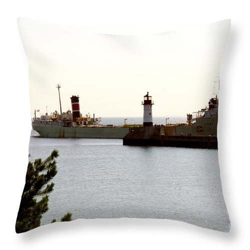 Ship Throw Pillow featuring the photograph The Alpena Ship by Lori Tordsen