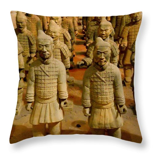 Qin Shi Huang Throw Pillow featuring the photograph The Army Of The Afterlife by Rachel Kaufmann