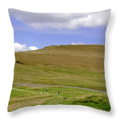 Derbyshire Throw Pillow featuring the photograph The Ascent Of Mam Tor by Rod Johnson