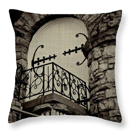 Architecture Throw Pillow featuring the photograph The Balcony by Chris Berry