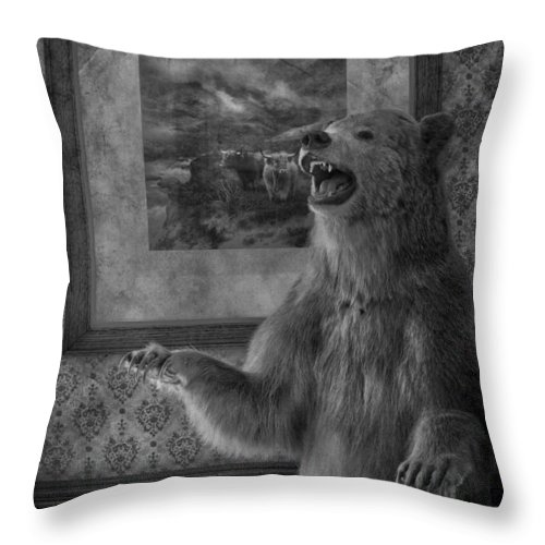 Bear Throw Pillow featuring the photograph The Bare Wall by The Artist Project