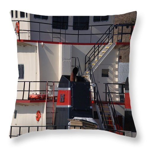 Pushboat Throw Pillow featuring the photograph The Bettendorf by Janice Adomeit