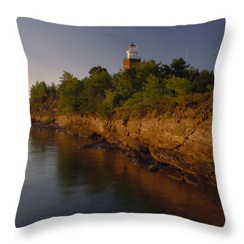 Outdoors Throw Pillow featuring the photograph The Big Bay Point Lighthouse, Now A Bed by Phil Schermeister