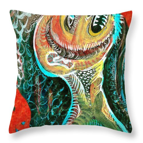 Portraits Throw Pillow featuring the painting The Big Tooth Ache by Ion vincent DAnu