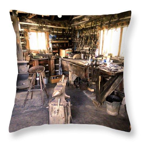 Al Bourassa Throw Pillow featuring the photograph The Blacksmith Shop by Al Bourassa