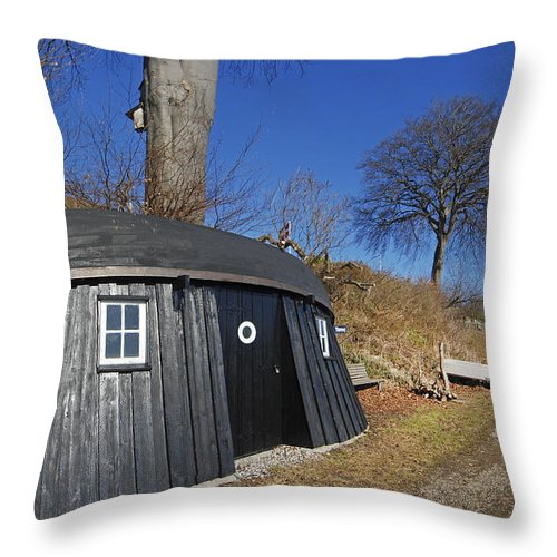 Boathouse Throw Pillow featuring the photograph The Boat House by Robert Lacy
