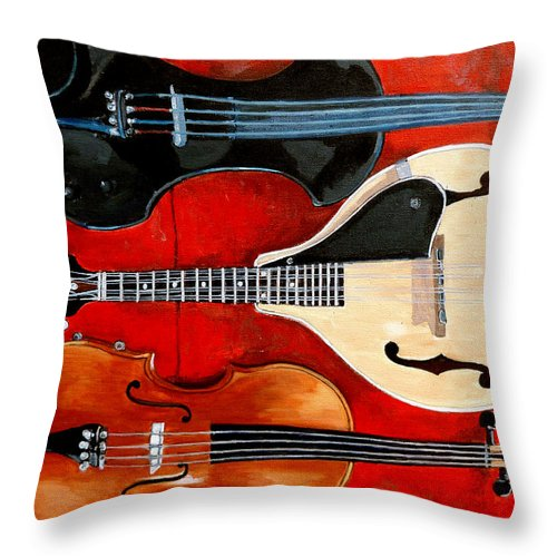 Violin Throw Pillow featuring the painting The Boys by Tom Roderick