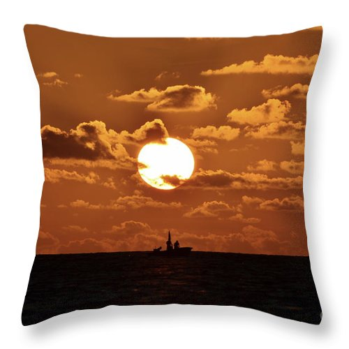 Sunset Throw Pillow featuring the photograph the Bronzy Sunset. by Alfie Borg