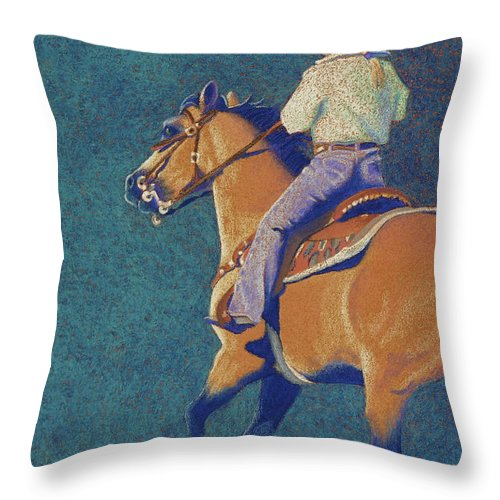 Buckskin Throw Pillow featuring the pastel The Buckskin by Tracy L Teeter