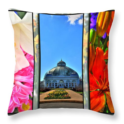 Throw Pillow featuring the photograph The Buffalo And Erie County Botanical Gardens Triptych Series by Michael Frank Jr