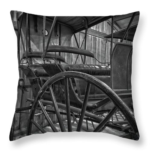 Horse Throw Pillow featuring the photograph The Buggy Barn by James Woody