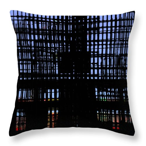 Pixelation Throw Pillow featuring the photograph The Cage by Andy Mercer
