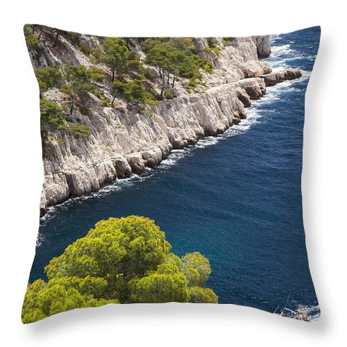 Blue Water Throw Pillow featuring the photograph The Calanques by Brian Jannsen