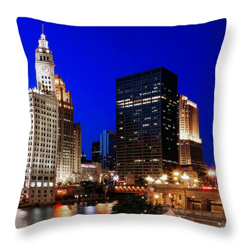 Chicago Throw Pillow featuring the photograph The Chicago River by Rick Berk