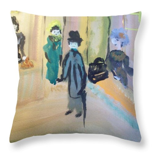 Chocolate Throw Pillow featuring the painting The Chocolate Shop by Judith Desrosiers