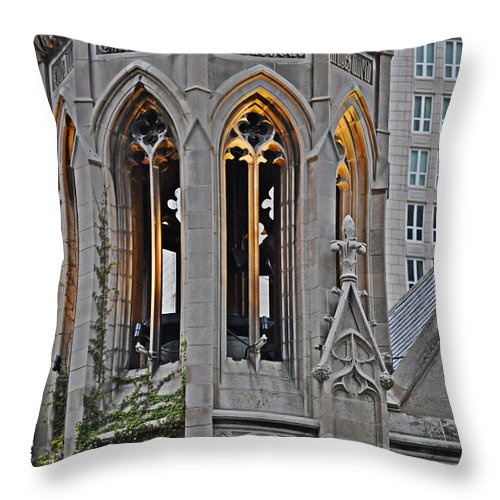 The Church Tower Throw Pillow featuring the photograph The Church Tower by Mary Machare