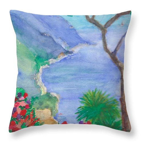 Italy Throw Pillow featuring the painting The Coast Of Italy by Katherine Shemeld