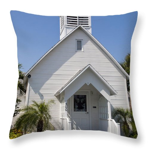 Community Throw Pillow featuring the photograph The Community Chapel Of Melbourne Beach Florida by Allan Hughes
