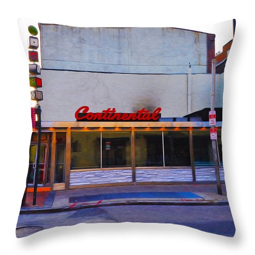 The Continental Diner Throw Pillow featuring the photograph The Continental Diner by Bill Cannon