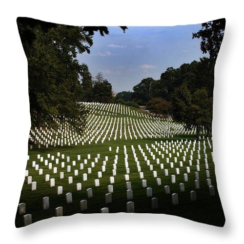Arlington National Cemetery Throw Pillow featuring the photograph The Cost by Greg and Chrystal Mimbs